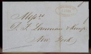 Colombia 1860 CJ Fox Aspinwall NG New York Agent Forwarding Cover 92132