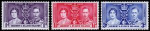 Gilbert & Ellice Islands Scott 37-39 (1937) Mint NH F-VF C