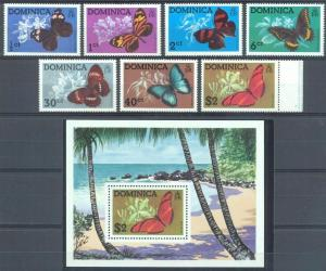 Dominica 1975 butterflies set+s/s MNH