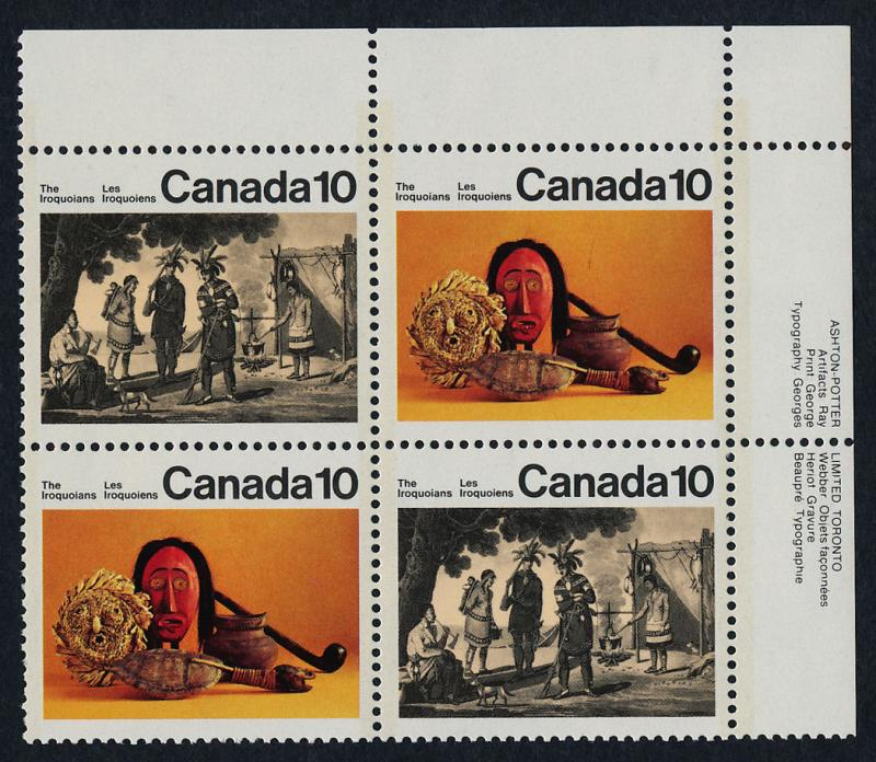 Canada 579ai TR Plate Block MNH The Iroquoian Indians, Art, Mask Costume