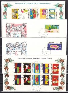 Canada, Scott cat. 519-530. Christmas Art issue. 4 First day covers. ^