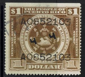 Puerto Rico 1936 Internal Revenue Perf 11, $1, Used, Pinholes - Lot 051117