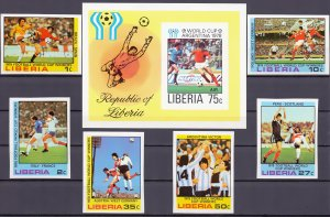 Liberia. 1978. 1061B-66B BL90B 6LB. Soccer world cup. MNH.