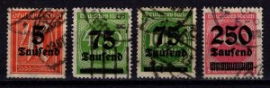 Germany 1923 Definitives Optd. with value in Tausend or Millionen [Used]