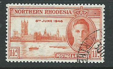 Northern Rhodesia  SG 46a CTO perf 13 1/2 with gum