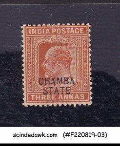 CHAMBA STATE - 1905 3a KEDVII SG#34 OVPT - 1V MINT NH