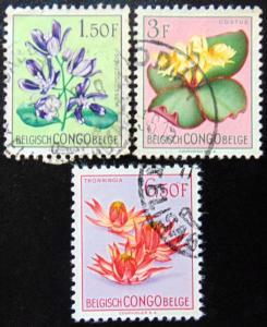BELGIAN CONGO 1952 1.50F,3F,6.50F Flowers Used