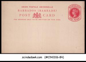 BARBADOS - 1d QV UPU POST CARD - MINT