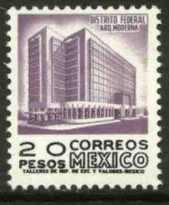 MEXICO 1102, $20P 1950 Defin 9th Issue Unwmkd Fosfo Glazed. MINT, NH. F-VF.
