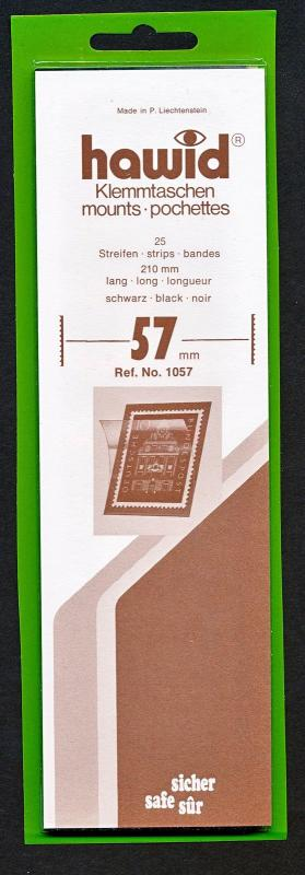 Hawid Stamp Mounts Size 57/210 BLACK Background Pack of 25