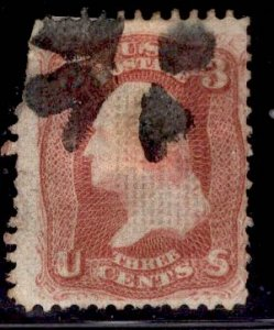 F Grill US Stamp #94 3c Red Washginton F Grill USED SCV $10