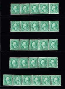 US STAMP # 490 1c Rotary Coil 1916 MINT STRIP OF 5 STAMPS LOT