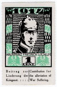(I.B) US Cinderella : German War Charity 1c (1914) Crown Prince Wilhelm
