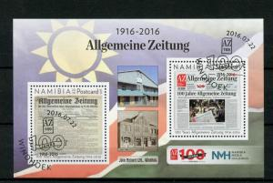 Namibia 2016 CTO Allgemeine Zeitung 100 Years 2v M/S Newspapers Stamps