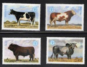 Zambia Scott 418-421 MNH** FAO Cattle set