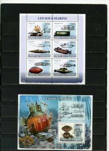 COMOROS 2008 SHIPS/SUBMARINES SHEET OF 6 STAMPS & S/S MNH