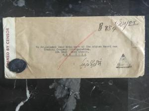 1941 Afghanistan Censored Register Cover to USA Red Wax Seal
