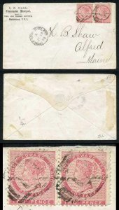 PRINCE EDWARD Is SG12 1862-69 2d rose perf 11.5-12 PAIR on Cover