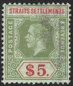 Straits Settlements Sc# 167 Used 1915 $5 green & red, green KGV