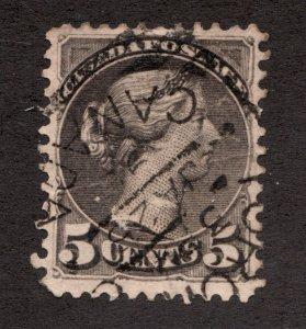Sc 42 - Canada - 1888 - 5 Cent - Small Queen Victoria -  Used -  superfleas -