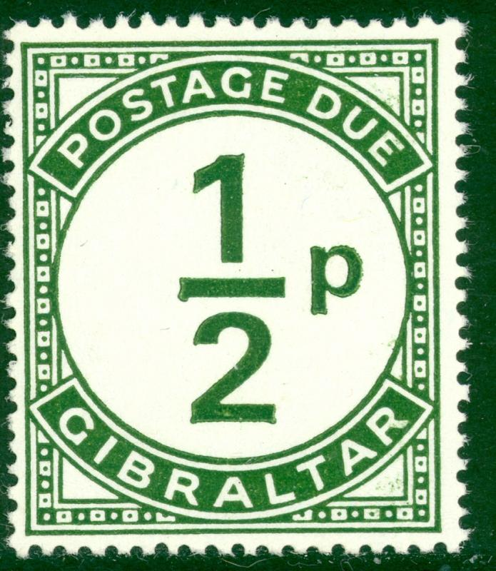 GIBRALTAR 1971 QE2 1/2p Postage Due VARIETY Deformed Fraction Bar Sc J4 Var MNH