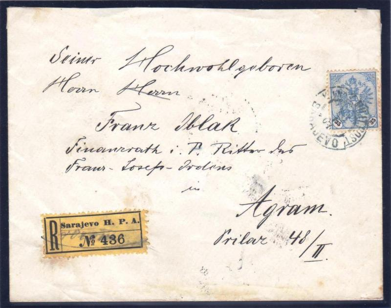 AUSTRIA BOSNIA  1904. 35 heller ultramarine single use on registered letter