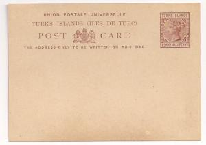 Turks Island QV postal card Mint UPU card