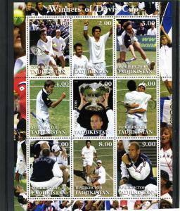 Tadjikistan 2001 Tennis Davis Cup Winners Sheet Perforated mnh.vf