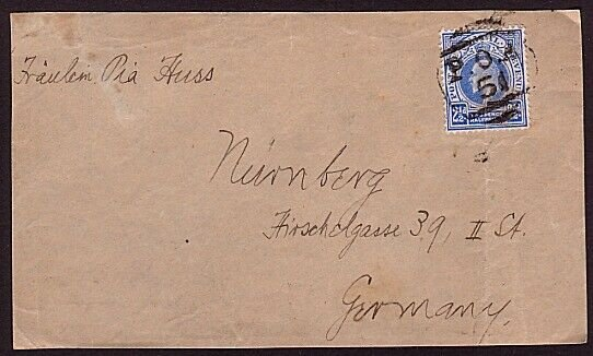 NATAL EVII 2½d on cover front only - P.O.A. / 51 cancel to Germany.........31528