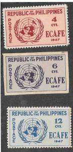Philippines #516-518* United Nations Emblem  (MH) CV$11.40