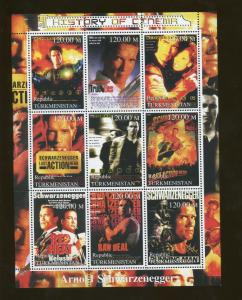 Turkmenistan Cinema Arnold Schwarzenegger Commemorative Souvenir Stamp Sheet