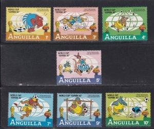 Anguilla # 492-498, Disney Characters - World Cup Soccer, NH,