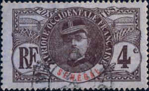 SENEGAL - 1906 - Yv.32 / Mi.32 4c brun & rouge sur azuré - Oblitéré TB