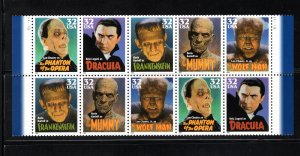 US #3172a, Plate Block,  VF, MNH, Classic Movie Monsters, CV $7.50  .... 6786106