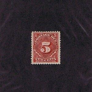 SC# J34 UNUSED ORIG GUM MNH 5 CENT POSTAGE DUE STAMP 1895, 2019 PSAG CERT, VF