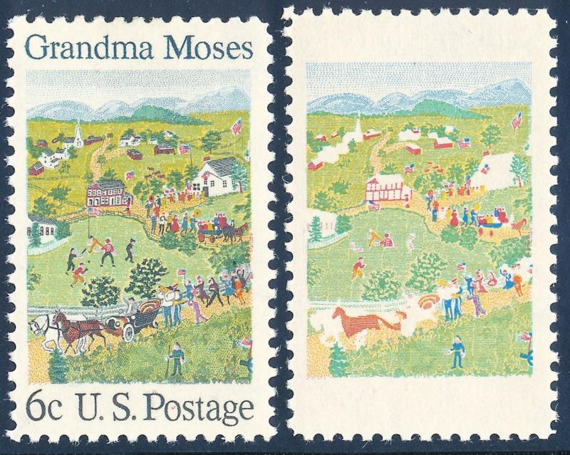 #1370b GRANDMA MOSES BLACK ENGRAVING OMITTED MAJOR ERROR HV4617