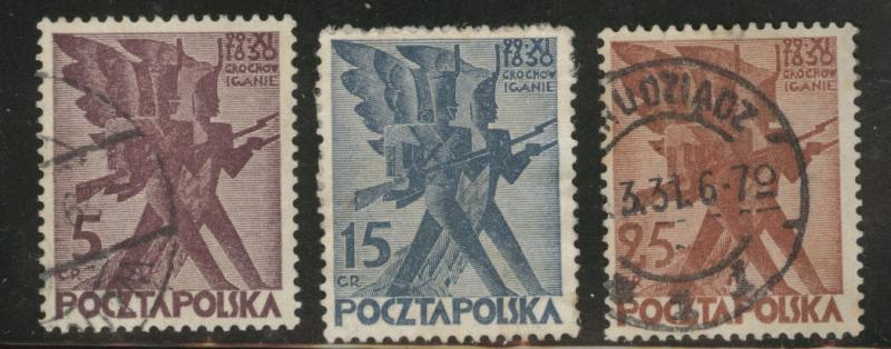 Poland Scott 263-265 used stamps 1930