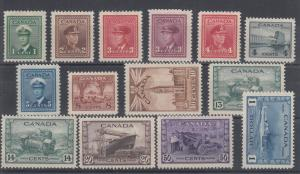 Canada Sc 249-262 MLH. 1942 War Issue, complete F-VF