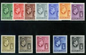 British Virgin Island 1938 KGVI set complete superb LMM. SG 110a-121. Sc 76-87.
