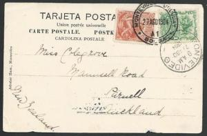 URUGUAY 1904 postcard used to New Zealand..................................11185