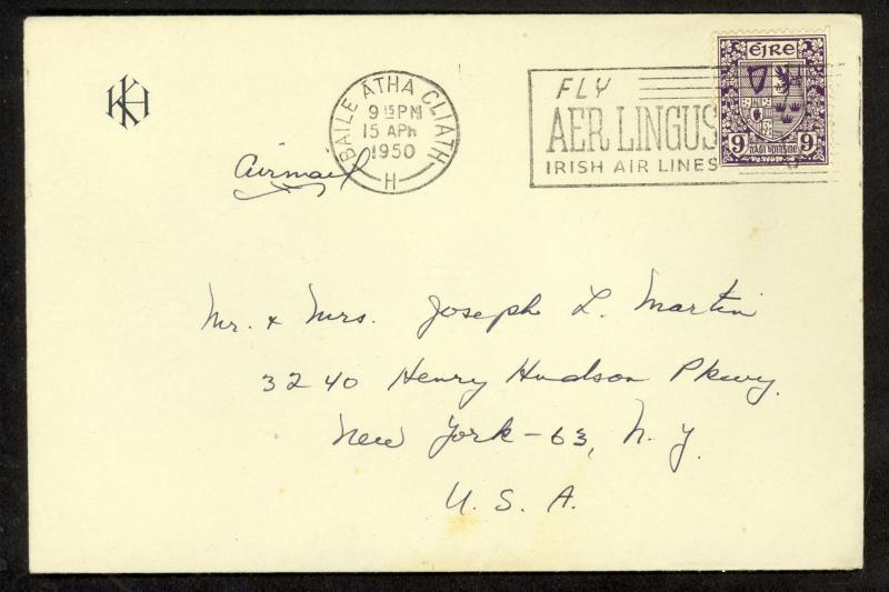 IRELAND 1950 9p Coat of Arms Sc 115 w FLY AER LINGUS Slogan Postmark to USA