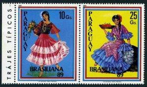 Paraguay 2281 ab pair,MNH.Mi 4371-4372. BRASILIANA 1989. Traditional costumes.