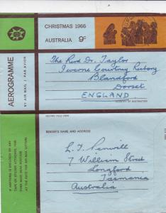 Australia 1966 9c Christmas Aerogramme Longford-Blandford VGC