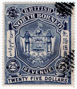 (I.B) British North Borneo Revenue : Duty Stamp $25 (British)