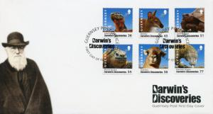 Guernsey 2009 FDC Darwin Discoveries 6v Set Cover Reptiles Wild Animals Stamps