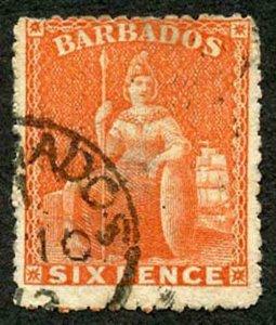 BARBADOS SG46 6d Orange-Vermilion Rough Perf 14 to 16 Large Star Cat 90 (E3)