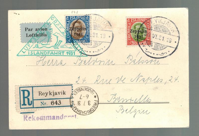 1931 Iceland Graf Zeppelin Postcard Cover to Belgium LZ 127  # C9 & C10