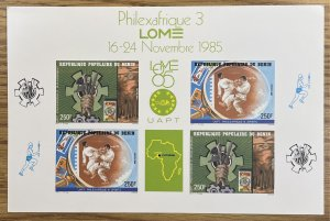 Benin (People's Republic of) #605,606 Souvenir Sheet / Card ??? (c1985) ...