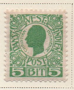 Danish West Indies Sc 31 1905 5 bit green Christian IX stamp mint
