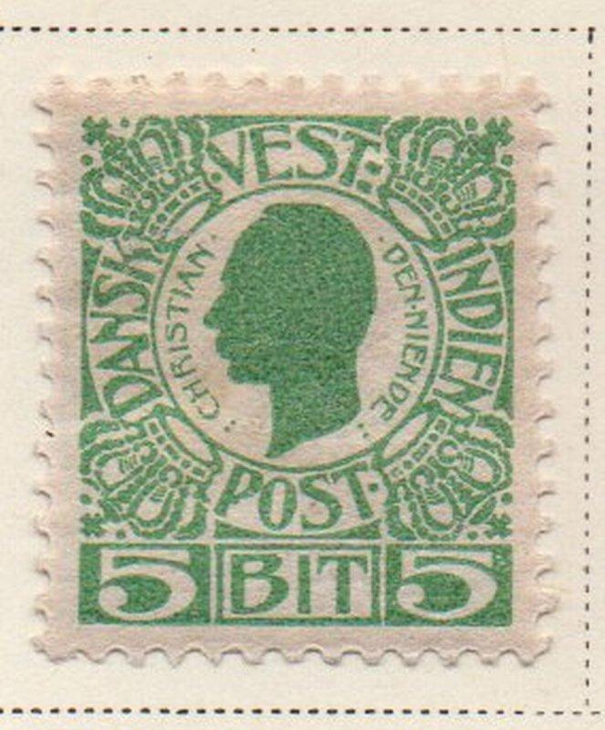 Danish West Indies Sc 31 1905 5 bit green Christian IX stamp mint